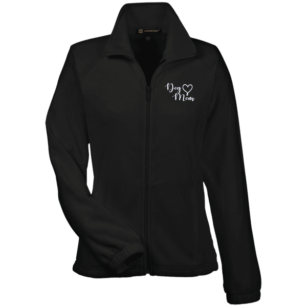 Dog Mom Wht Prnt - M990W Harriton Women's Fleece Jacket Black X-Small - Little Pit Shop