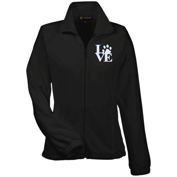 Love Paw Wht Embroidered - M990W Harriton Women's Fleece Jacket Black X-Small - Little Pit Shop