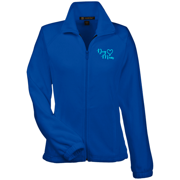 Dog Mom Teal Prnt - M990W Harriton Women's Fleece Jacket True Royal X-Small - Little Pit Shop