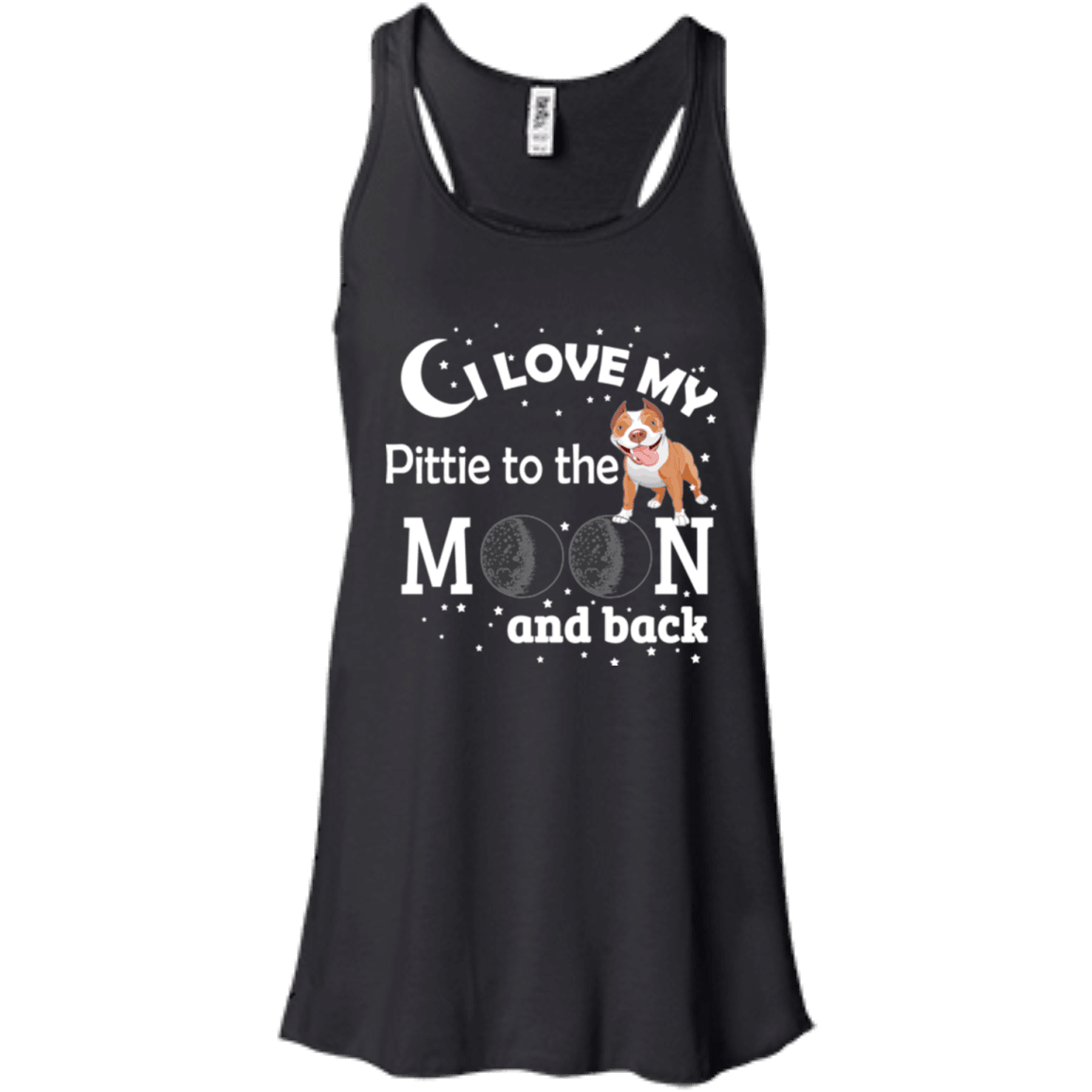 I Love My Pittie To The Moon! - B8800 Bella + Canvas Flowy Racerback Tank Black X-Small - Little Pit Shop