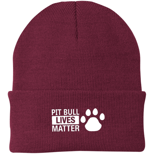 Pit Bull Lives Matter - CP90 Port Authority Knit Cap by Little Pit Shop Maroon One Size - Little Pit Shop