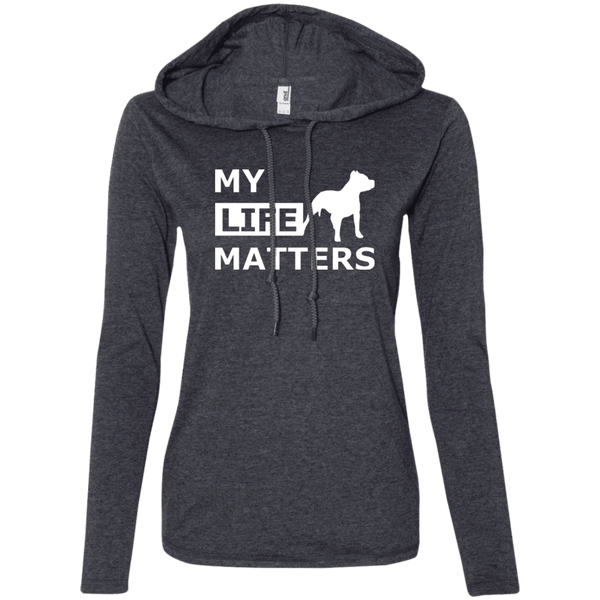 My Life Matters - 887L Anvil Ladies' LS T-Shirt Hoodie Heather Dark Grey/Dark Grey Small - Little Pit Shop