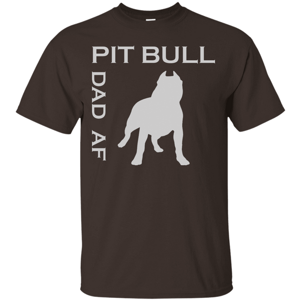 Pit Bull Dad AF - G200 Gildan Ultra Cotton T-Shirt Dark Chocolate Small - Little Pit Shop
