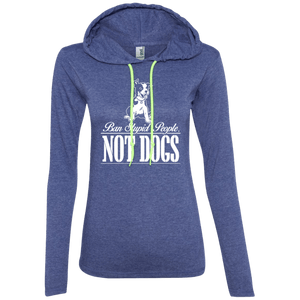 Ban Stupid People Not Dogs - 887L Anvil Ladies' LS T-Shirt Hoodie Heather Blue/Neon Yellow Small - Little Pit Shop