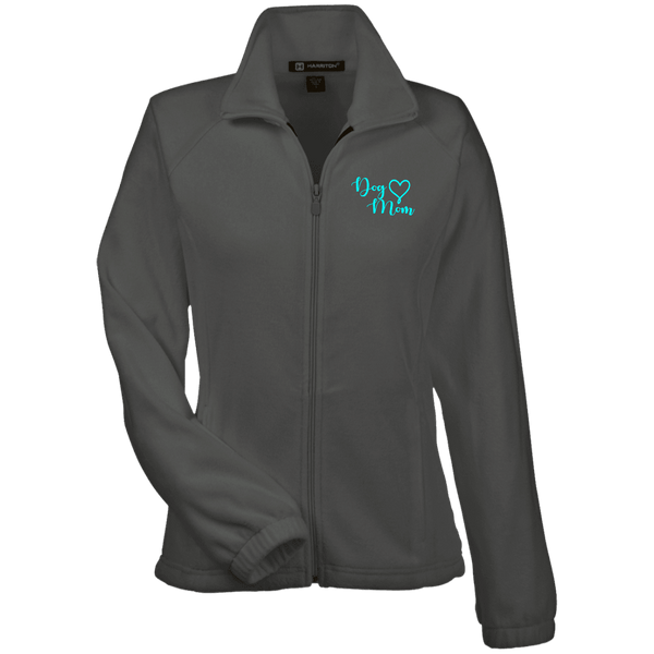 Dog Mom Teal Prnt - M990W Harriton Women's Fleece Jacket Charcoal X-Small - Little Pit Shop