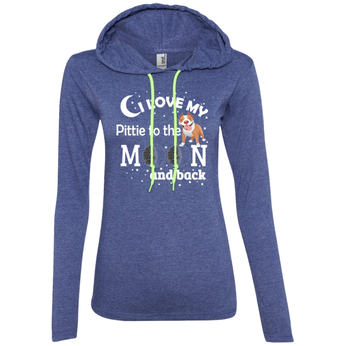 I Love My Pittie - 887L Anvil Ladies' LS T-Shirt Hoodie Heather Blue/Neon Yellow Small - Little Pit Shop