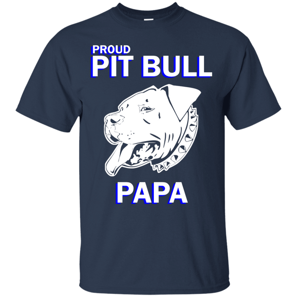 Proud Pit Bull Papa Dk - G200 Gildan Ultra Cotton T-Shirt Navy Small - Little Pit Shop