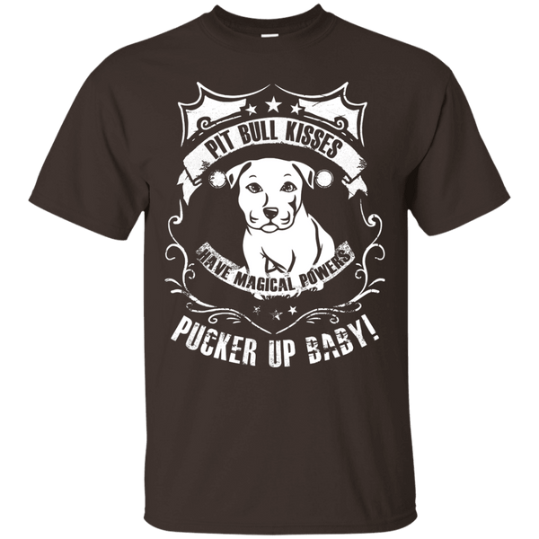 Pit Bull Kisses - G200 Gildan Ultra Cotton T-Shirt by Little Pit Shop Dark Chocolate Small - Little Pit Shop