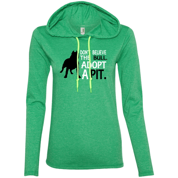 Don't Believe the Bull - 887L Anvil Ladies' LS T-Shirt Hoodie Heather Green/Neon Yellow Small - Little Pit Shop