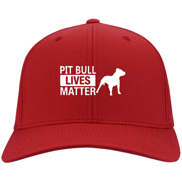 Pit Bull Lives Matter- CP80 Port & Co. Twill Cap By Little Pit Shop Red One Size - Little Pit Shop