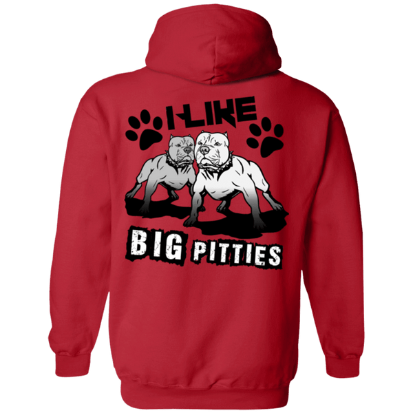 I Like Big Pitties Back Print Drk - G185 Gildan Pullover Hoodie 8 oz. Red Small - Little Pit Shop