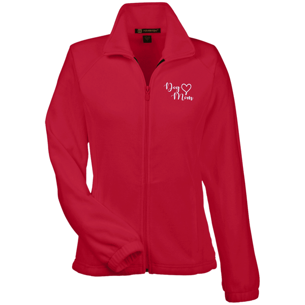 Dog Mom Wht Prnt - M990W Harriton Women's Fleece Jacket Red X-Small - Little Pit Shop