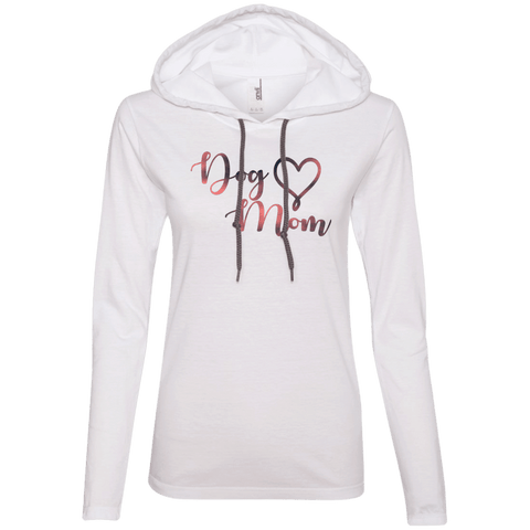 Dog Mom Pink Noise - 887L Anvil Ladies' LS T-Shirt Hoodie White/Dark Grey Small - Little Pit Shop