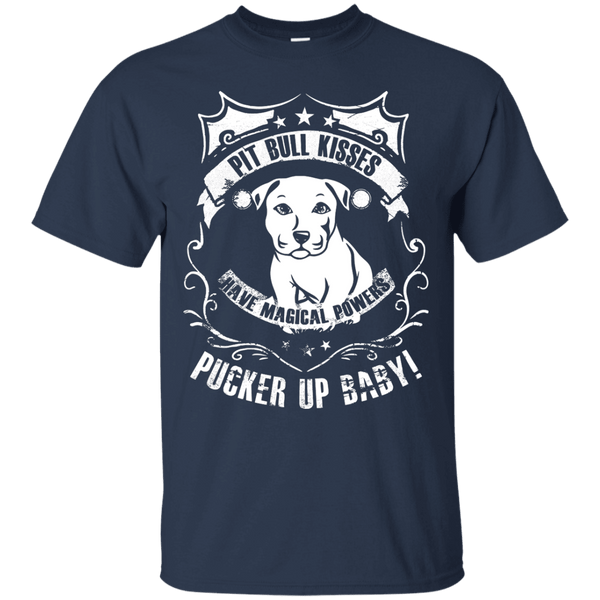 Pit Bull Kisses - G200 Gildan Ultra Cotton T-Shirt by Little Pit Shop Navy Small - Little Pit Shop