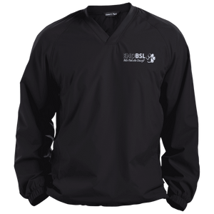 End BSL - JST72 Sport-Tek Pullover V-Neck Windshirt by Little Pit Shop Black X-Small - Little Pit Shop