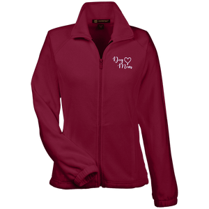 Dog Mom Wht Prnt - M990W Harriton Women's Fleece Jacket Wine X-Small - Little Pit Shop