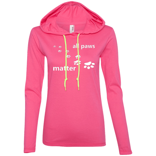All Paws Matter - 887L Anvil Ladies' LS T-Shirt Hoodie by Little Pit Shop Hot Pink/Neon Yellow Small - Little Pit Shop