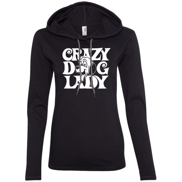 Crazy Dog Lady - 887L Anvil Ladies' LS T-Shirt Hoodie Black/Dark Grey Small - Little Pit Shop