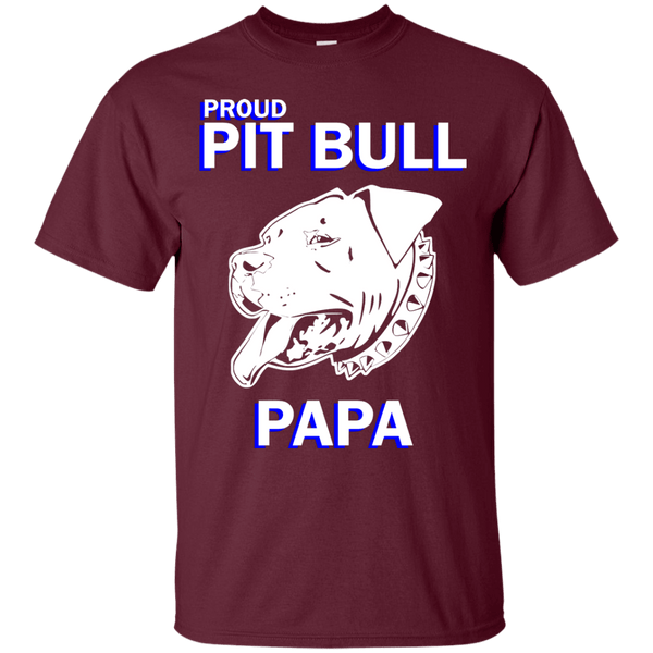 Proud Pit Bull Papa Dk - G200 Gildan Ultra Cotton T-Shirt Maroon Small - Little Pit Shop