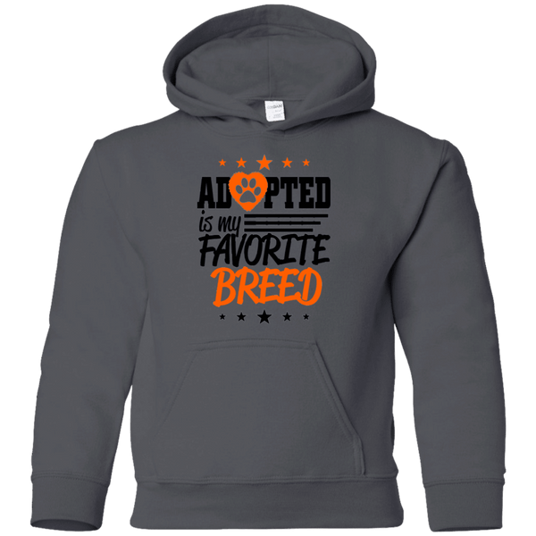 Adopted is My Favorite Breed - G185B Gildan Youth Pullover Hoodie Charcoal YS - Little Pit Shop