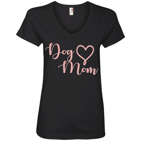 Dog Mom Pink Text - 88VL Anvil Ladies' V-Neck T-Shirt Black Small - Little Pit Shop