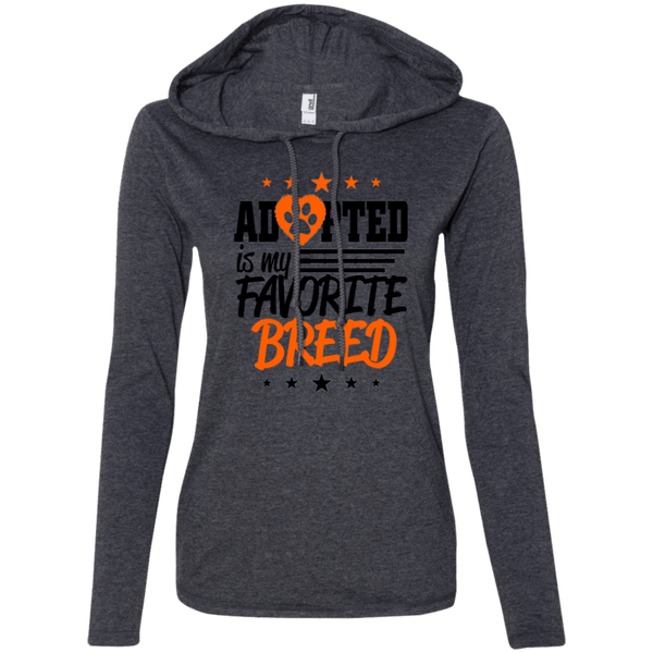 Adopted is My Favorite Breed - 887L Anvil Ladies' LS T-Shirt Hoodie Heather Dark Grey/Dark Grey Small - Little Pit Shop