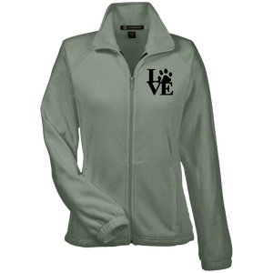 Love Paw Blck Prnt - M990W Harriton Women's Fleece Jacket, Jackets | Pit Bull T Shirts, Hoodies and more | Little Pit Shop
