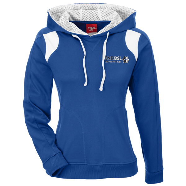 End BSL Embroidered - TT30W Team 365 Ladies' Colorblock Poly Hoodie By Little Pit Shop Royal/White X-Small - Little Pit Shop