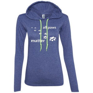 All Paws Matter - 887L Anvil Ladies' LS T-Shirt Hoodie by Little Pit Shop Heather Blue/Neon Yellow Small - Little Pit Shop