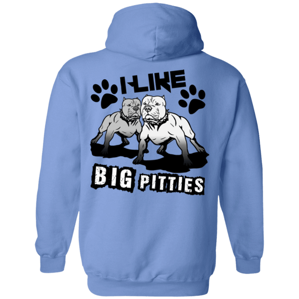 I Like Big Pitties Back Print Drk - G185 Gildan Pullover Hoodie 8 oz. Carolina Blue Small - Little Pit Shop