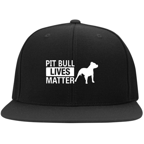 Pit Bull Lives Matter - STC19 Sport-Tek Flat Bill High-Profile Snapback Hat By Little Pit Shop Black One Size - Little Pit Shop