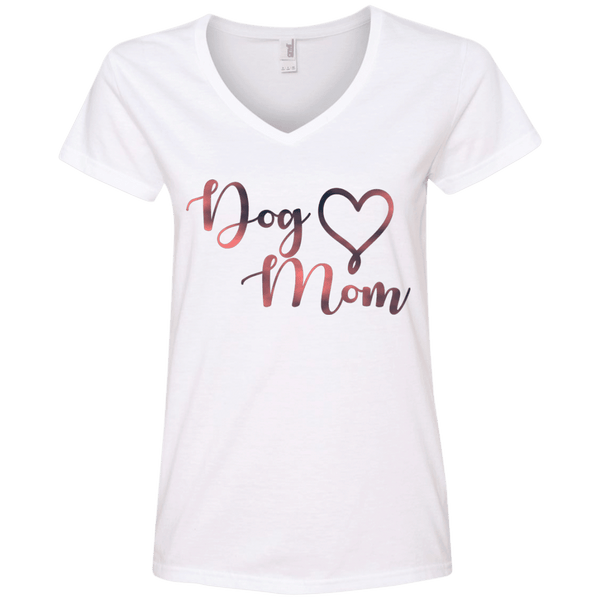 Dog Mom Pink Noise - 88VL Anvil Ladies' V-Neck T-Shirt White Small - Little Pit Shop