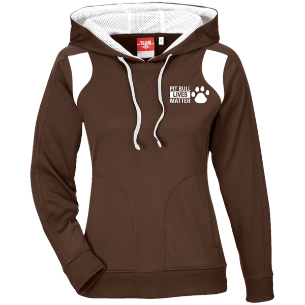 Pit Bull Lives Matter - TT30W Team 365 Ladies' Colorblock Poly Hoodie By Little Pit Shop Brown/White X-Small - Little Pit Shop