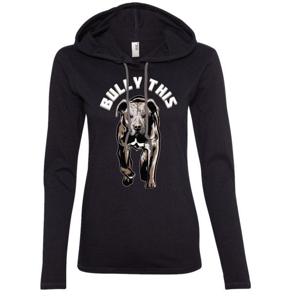 Bully This! - 887L Anvil Ladies' LS T-Shirt Hoodie Black/Dark Grey Small - Little Pit Shop