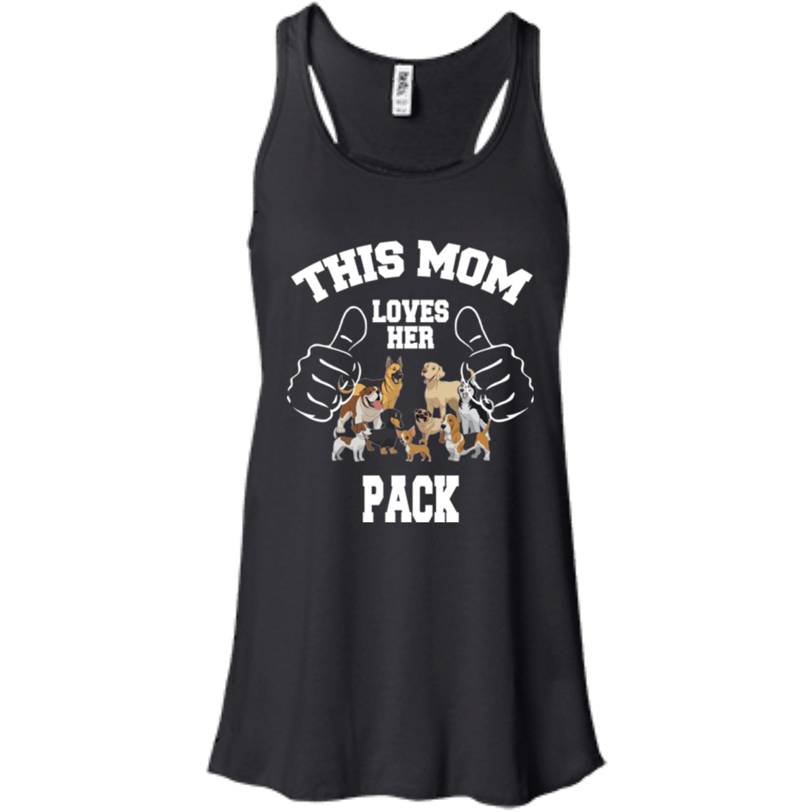 Mom Loves Her Pack - B8800 Bella + Canvas Flowy Racerback Tank Black X-Small - Little Pit Shop
