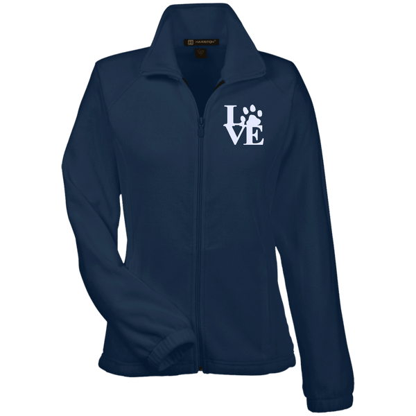 Love Paw Wht Embroidered - M990W Harriton Women's Fleece Jacket Navy X-Small - Little Pit Shop