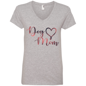 Dog Mom Pink Noise - 88VL Anvil Ladies' V-Neck T-Shirt Heather Grey Small - Little Pit Shop