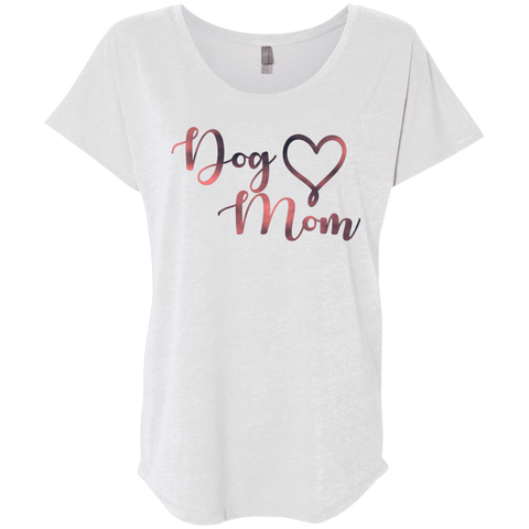 Dog Mom Pink Noise - NL6760 Next Level Ladies' Triblend Dolman Sleeve Heather White X-Small - Little Pit Shop