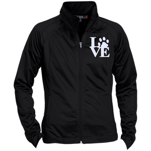 Love Paw Wht Embroidered - LST90 Sport-Tek Ladies' Raglan Sleeve Warmup Jacket, Jackets | Pit Bull T Shirts, Hoodies and more | Little Pit Shop