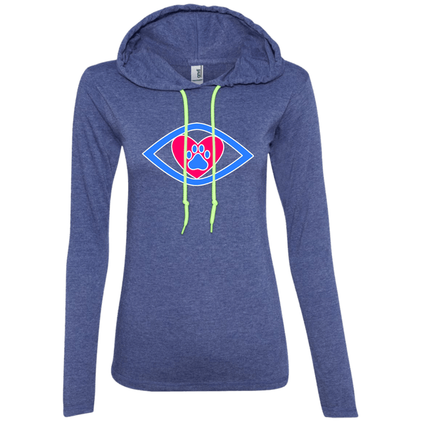 Eye-Heart-Paw - 887L Anvil Ladies' LS T-Shirt Hoodie Heather Blue/Neon Yellow Small - Little Pit Shop