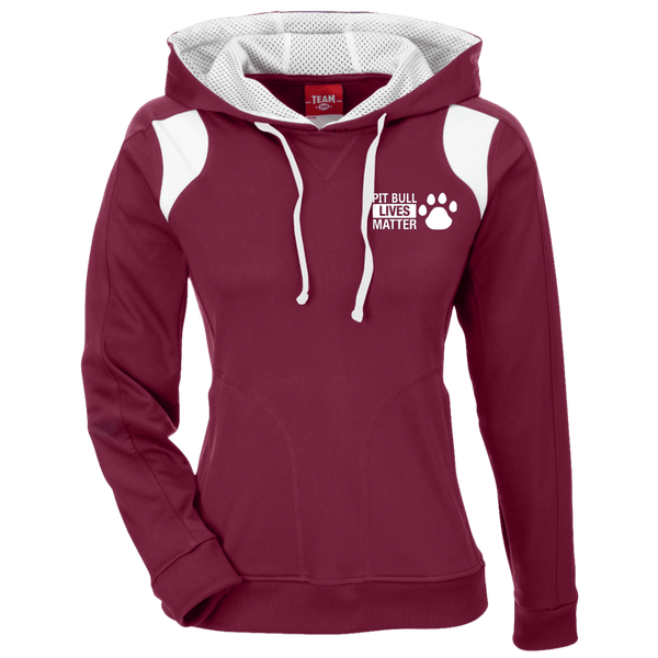 Pit Bull Lives Matter - TT30W Team 365 Ladies' Colorblock Poly Hoodie By Little Pit Shop Maroon/White X-Small - Little Pit Shop