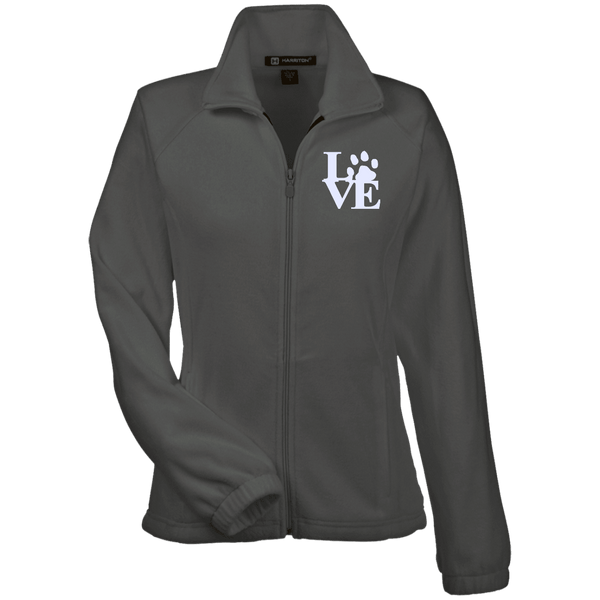 Love Paw Wht Embroidered - M990W Harriton Women's Fleece Jacket Charcoal X-Small - Little Pit Shop