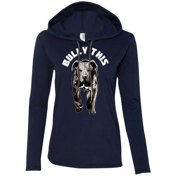 Bully This! - 887L Anvil Ladies' LS T-Shirt Hoodie Navy/Dark Grey Small - Little Pit Shop