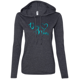 Dog Mom Teal Noise - 887L Anvil Ladies' LS T-Shirt Hoodie Heather Dark Grey/Dark Grey Small - Little Pit Shop