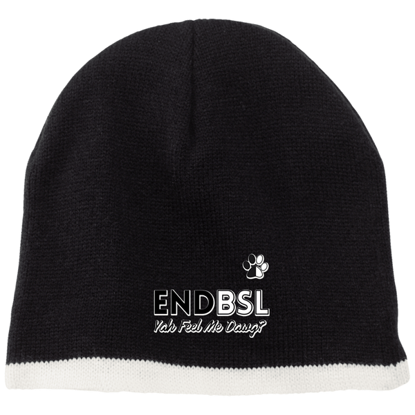 End BSL - CP91 100% Acrylic Beanie by Little Pit Shop Black/Natural One Size - Little Pit Shop