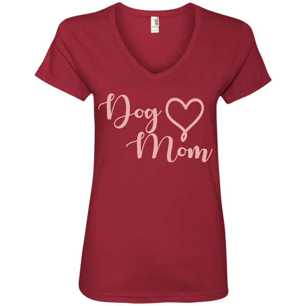 Dog Mom Pink Text - 88VL Anvil Ladies' V-Neck T-Shirt Independence Red Small - Little Pit Shop