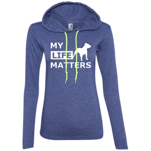 My Life Matters - 887L Anvil Ladies' LS T-Shirt Hoodie Heather Blue/Neon Yellow Small - Little Pit Shop
