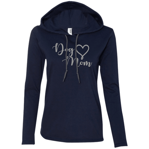 Dog Mom Grey Text - 887L Anvil Ladies' LS T-Shirt Hoodie Navy/Dark Grey Small - Little Pit Shop