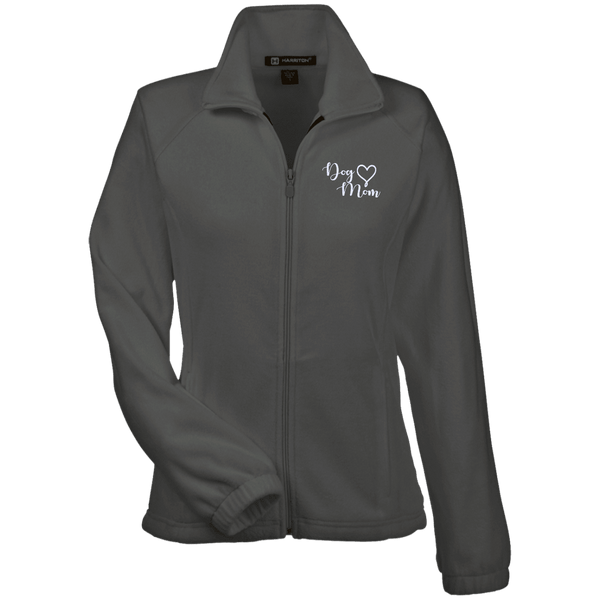 Dog Mom Wht Prnt - M990W Harriton Women's Fleece Jacket Charcoal X-Small - Little Pit Shop