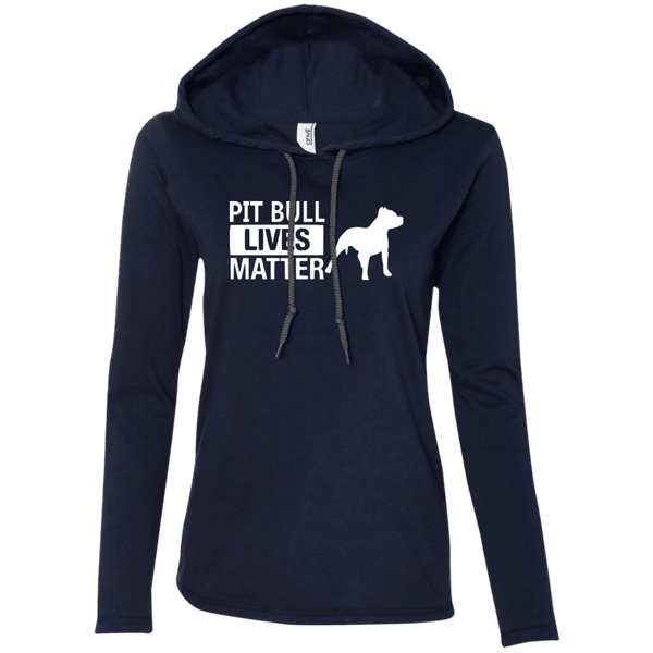 Pit Bull Lives Matter -887L Anvil Ladies' LS T-Shirt Hoodie Navy/Dark Grey Small - Little Pit Shop